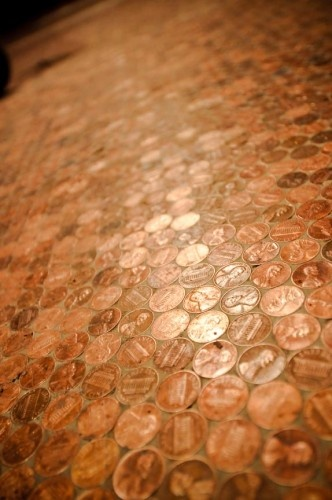 Pennies floor pennies and floors on pinterest for Floor of pennies