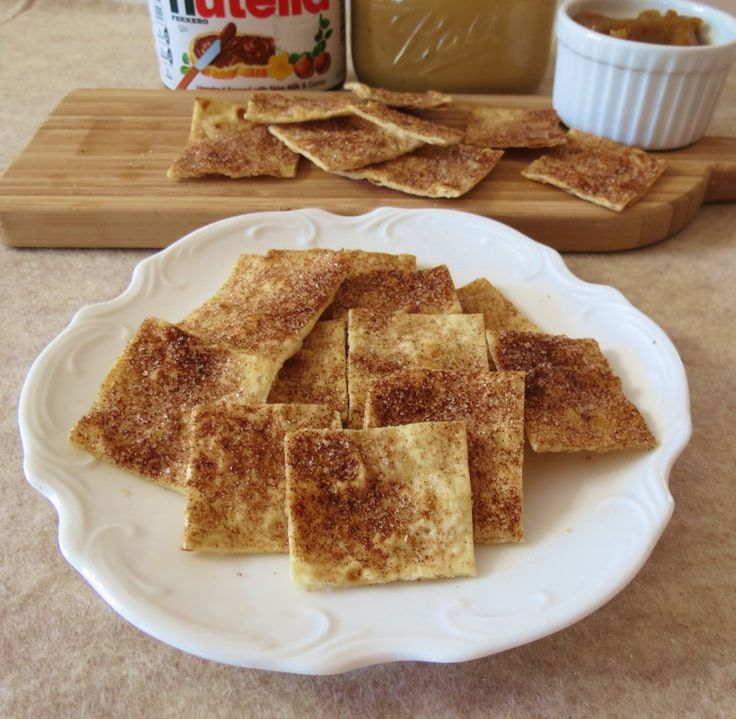 Cinnamon and Sugar Lavash Chips #recipe. These come out of the oven crisp and sweet, and last for days in a sandwich baggie.