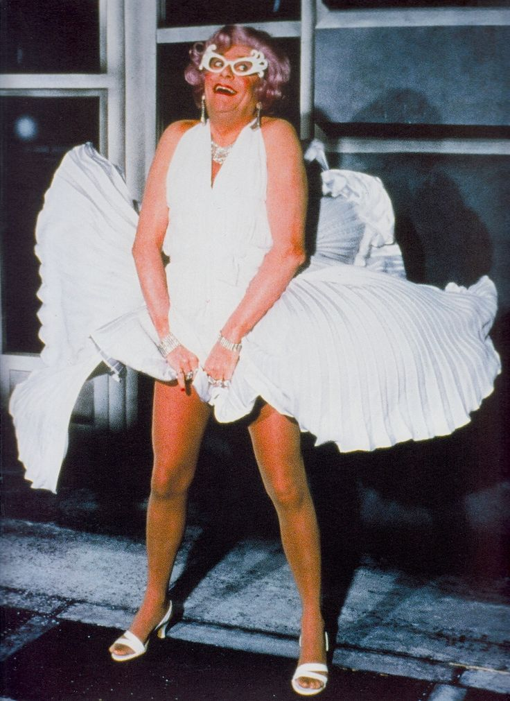 """DAME EDNA EVERAGE as Marilyn Monroe in a replica of the famous white pleated skirt from The Seven Year Itch. """"I was born in Melbourne with a precious gift. Dame Nature stooped over my cot and gave me this gift. It was the ability to laugh at the misfortunes of others."""" Dame Edna quote. Photo from 'EAT PRAY LAUGH! : BARRY HUMPHRIES' FAREWELL TOUR (2012) program. (minkshmink)"""