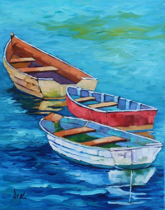 Back To The Sea Original Boat Oil Painting By Rebecca Beal 3 Row Boats Colorful Wall Art Office Art On Canvas Contem Watercolor Boat Sailboat Painting Boat Art