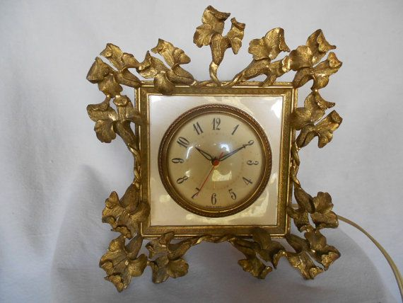Vintage Metal  Framed Iris Motif Clock by GuelphJunction on Etsy