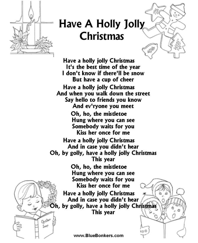 BlueBonkers: Have a Holly Jolly Christmas, Free Printable Christmas Carol Lyrics Sheets : Favorite Christmas Song Sheets