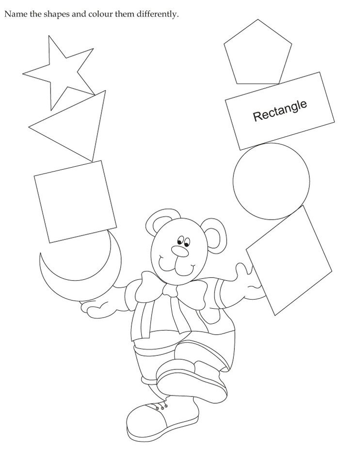 Download english activity worksheet Name the shapes and