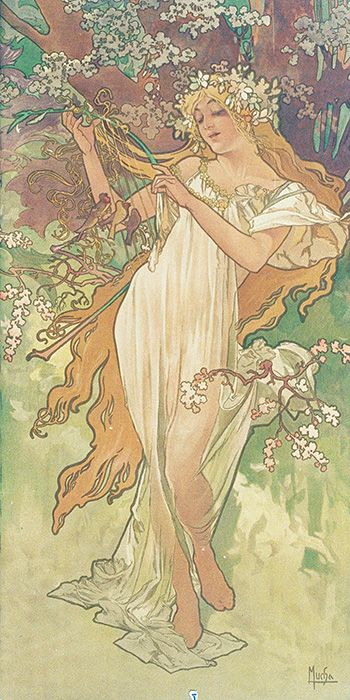 カラーリトグラフ 「春」(「四季」より) フランス 1896年 ミュシャ画 « Les Saisons » Printemps 1896 France Alphonse Mucha