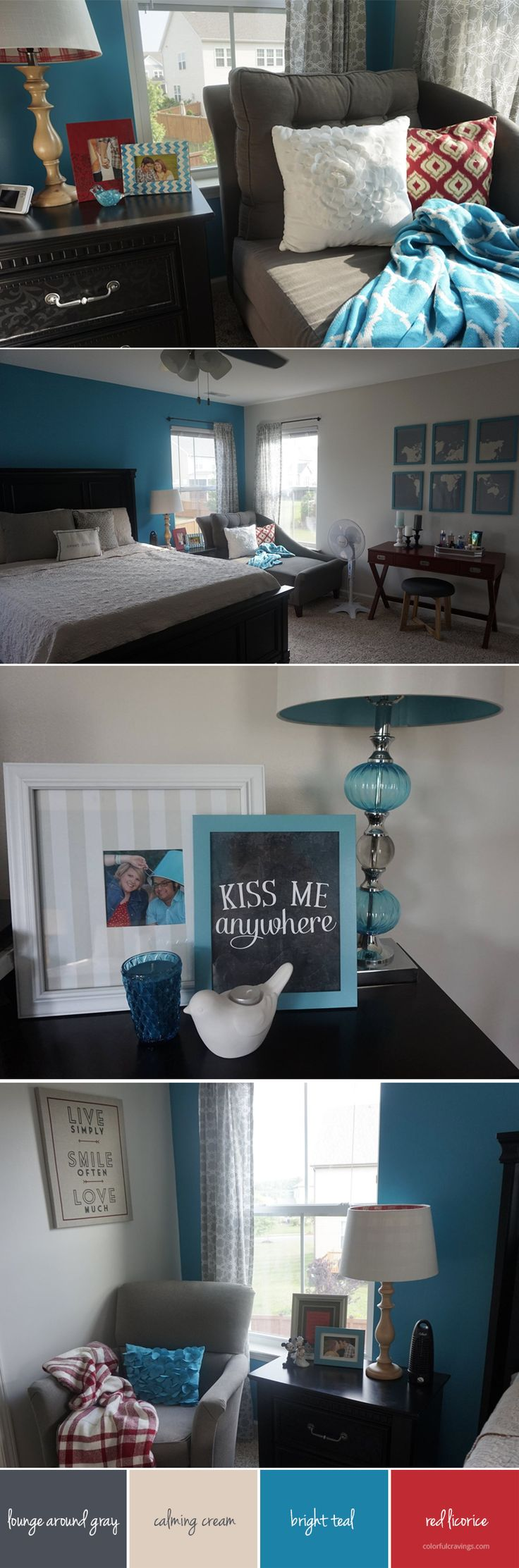 master bedroom | sea inspired | red blue teal cream gray | colorfulcravings.com