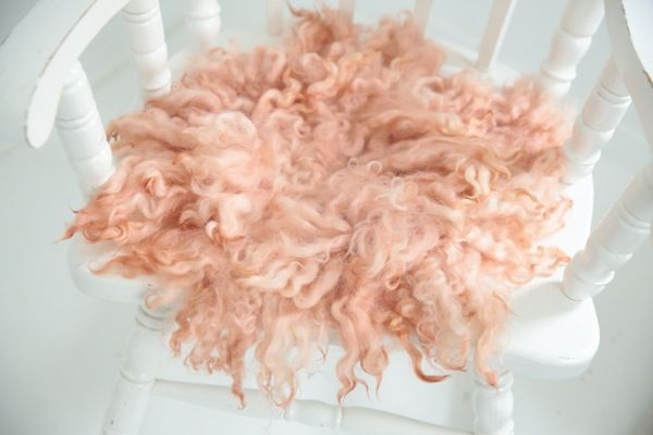 Image of MADE TO ORDER - APRICOT SHADES - PREMIUM curly wool felted layer - newborn photo PROP - FLOVELIES