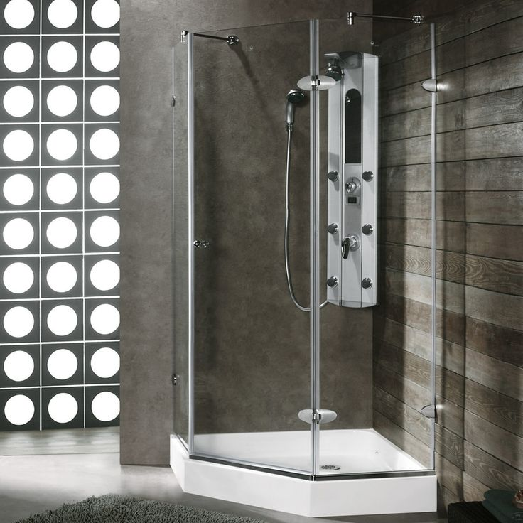Shop VIGO Frameless Showers Chrome Acrylic Floor Neo-Angle 3-Piece Corner Shower Kit (Actual: 78-in x 40.25-in x 40.25-in) at Lowes.com