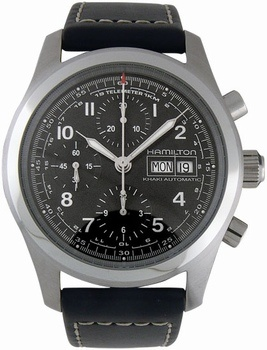 Hamilton Khaki Field Chrono Auto Steel Black XL Mens Watch