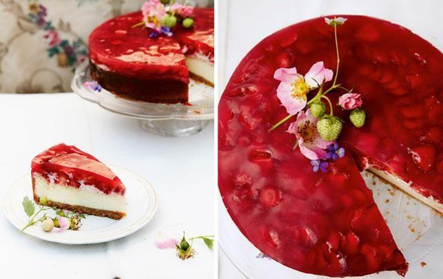 Lækker rabarber-cheesecake