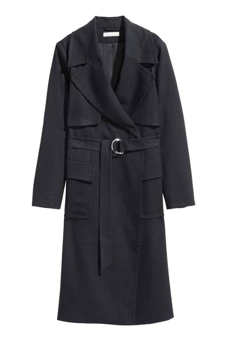 Trenchcoat: Trenchcoat in woven fabric with wide lapels, a loose yoke, flap front pockets, a fabric belt with a metal buckle and a single back vent. Lined.