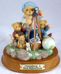 """Cherished Teddies limited edition figurine known as """"Winfield, When You Wish Upon A Star Anything Is Possible"""". This is multiple bear and animal figurine in excellent condition. The figurine comes with a wooden title base. Thisis a great buyfor ..."""