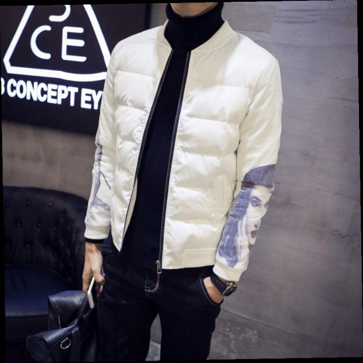 45.00$  Watch here - http://ali0pj.worldwells.pw/go.php?t=32760058095 - Winter Padded Jacket Men Korean Casual Printed Stand Collar Slim Fit Warm Parka Men 5XL jaqueta masculina acolchoada Design 45.00$