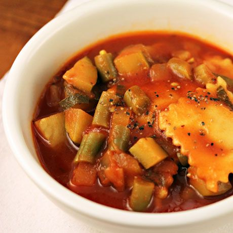 Recipe for tomato vegetable soup with cheese ravioli {The Perfect Pantry}