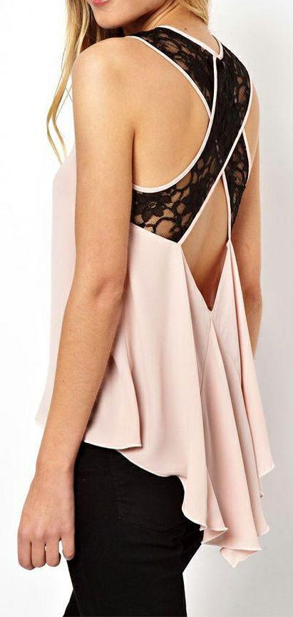 Pink Lace Criss Cross Dipped Hem Chiffon Top