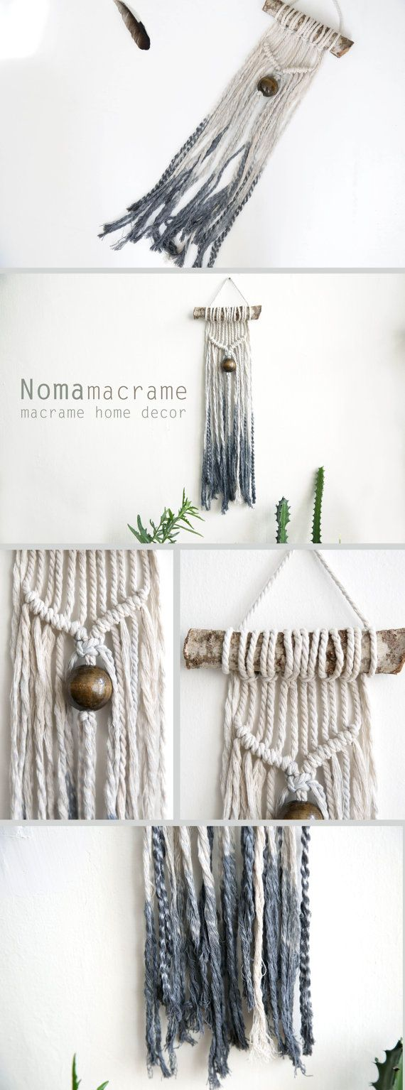 Macrame wall hanging is a beautiful room decorations and give your home a boho chic! This macrame Tapestry is unique and can be a wonderful gift for people you love . It made of 100% and cotton cord. This macrame wall art is made of natural wood, big brawn bead and natural cord that part of it I dyied in dark gray . This modern macrame gives your room warm feeling, you can also hang it in your badroom,living room or any other room. you can also combine it in a gallery wall.  ^^^^^^^^ The…