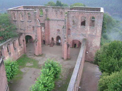 """Limburg Abbey Ruins-  Bad Dürkheim, Germany.  They have many weddings here, and they set up tables """"inside"""", although there is no roof. Beautiful views."""