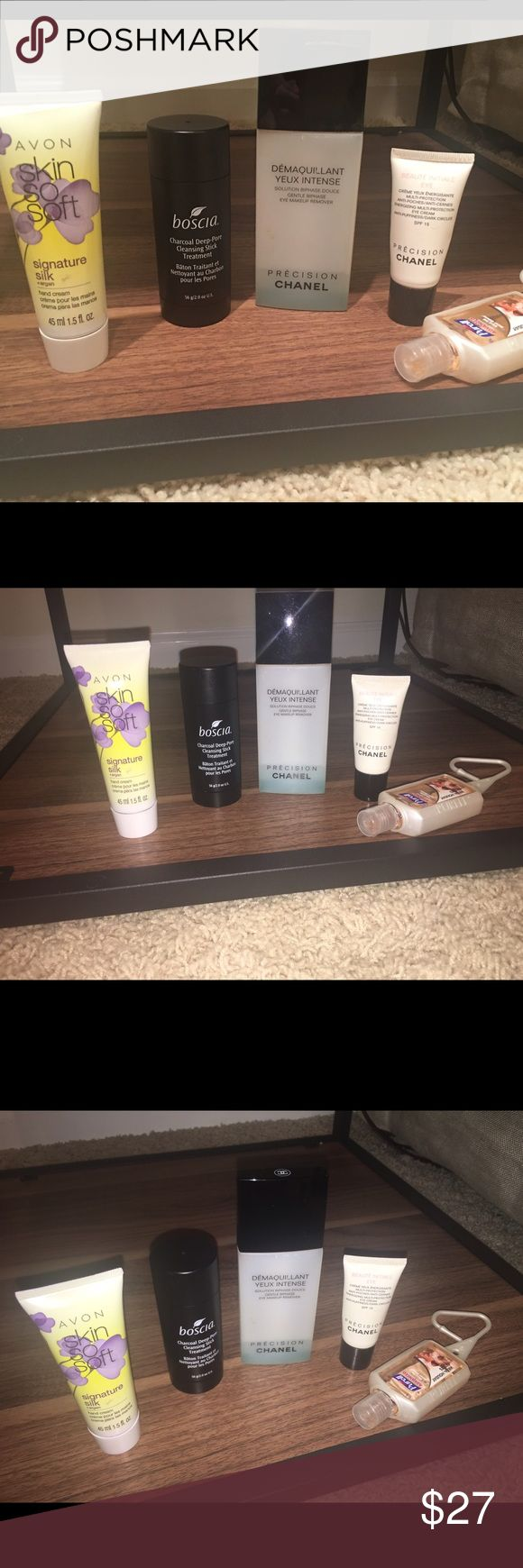 Chanel eye cream & remover, Boscia, Avon & More 5 piece beauty package! The Chanel MakeUp remover is obviously almost empty but the eye cream is about 1/2+ full, Boscia charcoal deep pore stick 1/4 left & the Avon hand cream & Purell travel hand sanitizer are NEW. Chanel Makeup