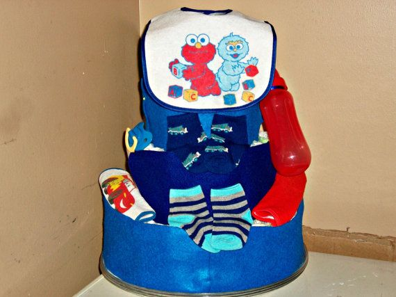 blue two-toned baby boy 3 tier baby shower by ReadyMadeDiaperCakes