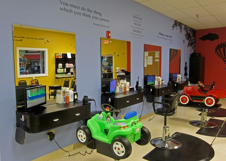 """Children can choose between a fun car or fire truck or our new kid-size salon chairs. The green car works perfectly for early sitters already in need of their first """"big boy"""" or """"big girl"""" haircut. Moms and dads can also request a """"lap cut"""" and hold their young children while they sit in the adult salon chair.  Junior Cuts, a kids hair salon located inside Recreations Outlet in Milford, OH (Cincinnati)."""