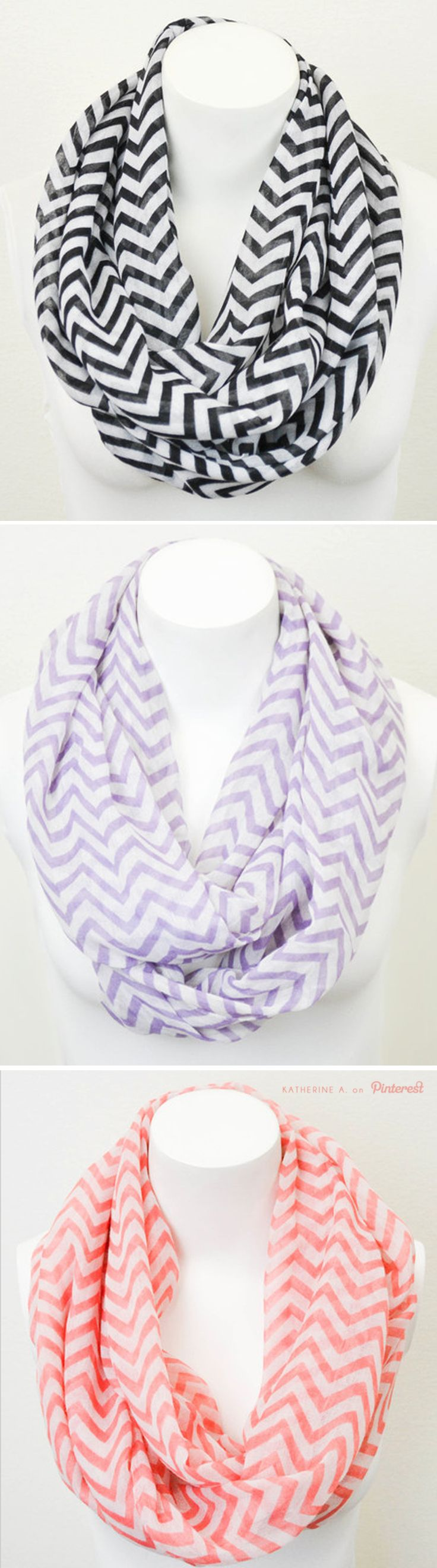 Love these lightweight Chiffon Chevron Infinity Scarves!