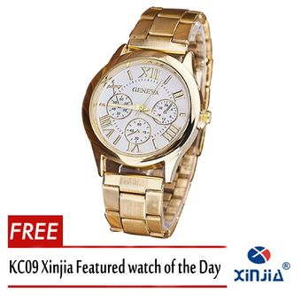 Buy Geneva SY-3 Roman Numerals Womens Gold/White Steel-belt Watch With Free KC09 LED Silica Gel Electronic Watch (Random Color) online at Lazada. Discount prices and promotional sale on all. Free Shipping.
