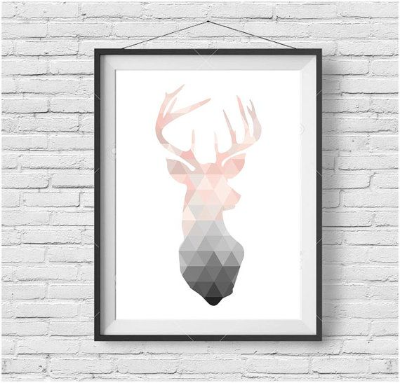 Blush Deer Print Deer Wall Art Deer Poster by PrintAvenue on Etsy                                                                                                                                                                                 More