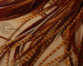 Barred Dark Ginger 15 Natural Rooster Feathers 9-12inches DIY Hair Feathers Hippie Hair Accessories
