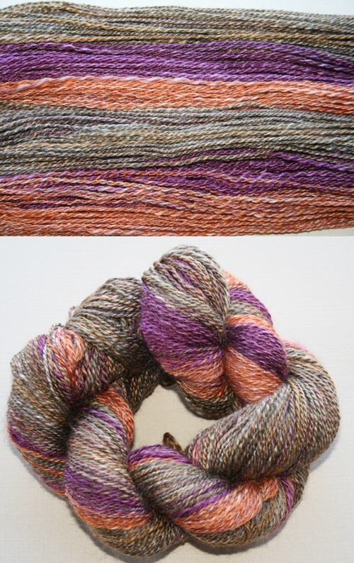 Two ply 50/50 silk spun by Kate from Sourkraut's parcel: fibre from ArtemisArtemis on Etsy.