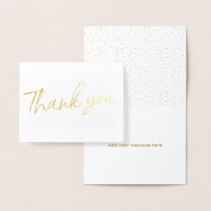 Gold Foil Stylish Lettered Wedding Thank you Foil Card - wedding party gifts equipment accessories ideas