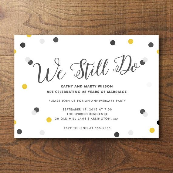 25+ Best Ideas About Anniversary Party Invitations On