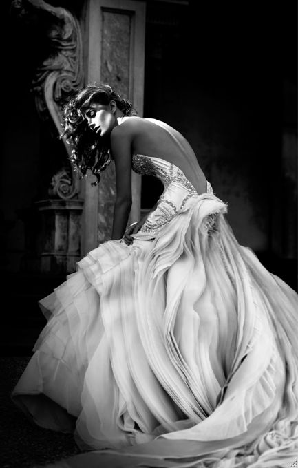 ...    white gown, glamour, black and white, fashion, tulle, waves dress