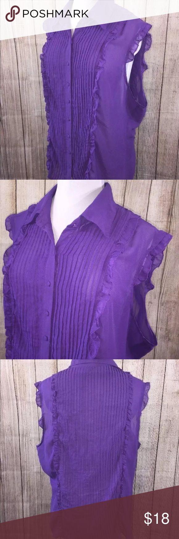 "ALI & KRIS Sleeveless Ruffle Woman's Plus Sz 3X ALI & KRIS Sleeveless Ruffle Pleated SHIRT BLOUSE Purple Woman's Plus Sz 3X  Length 29"" Underarm to underarm 25 1/2"" Ali & Kris Tops Blouses"