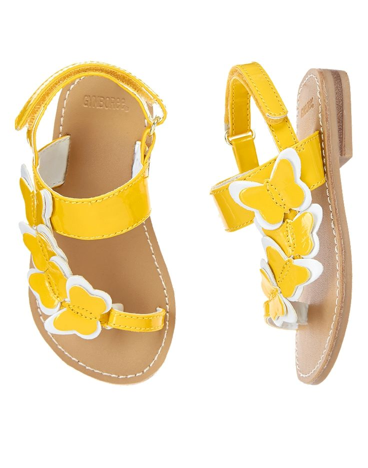 Gymboree Girl Yellow and Black Line Butterfly Sandals