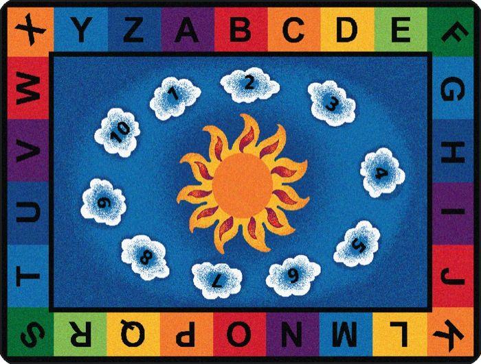 """Sunny Day Learn & Play Alphabet Classroom Rug, 5'10"""" x 8'4"""" Rectangle"""