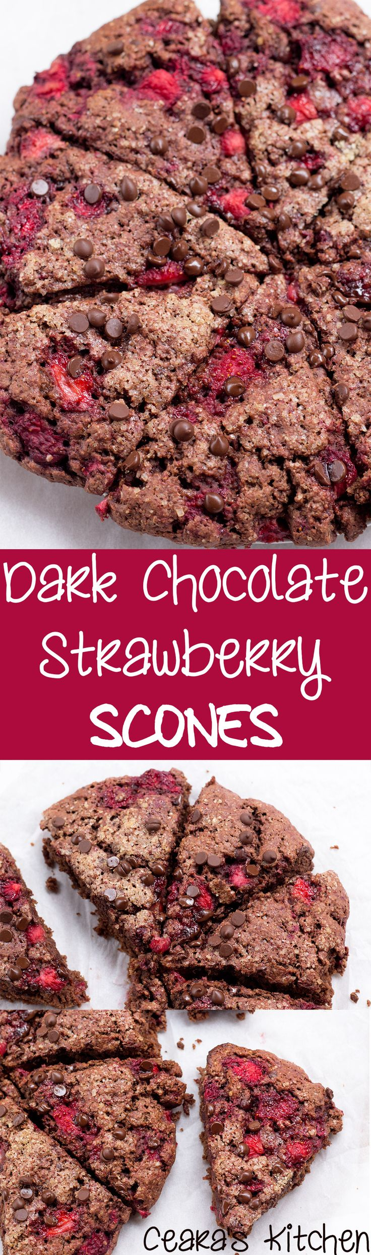 These Dark Chocolate Strawberry Scones are made with full fat coconut milk instead of butter! They are perfectly crispy on the outside and soft and chocolatey on the inside! #Healthy #Breakfast #Brunch #Scones #HealthyBaking #HealthyFood #Chocolate #Vegan #VeganBaking #VeganFood
