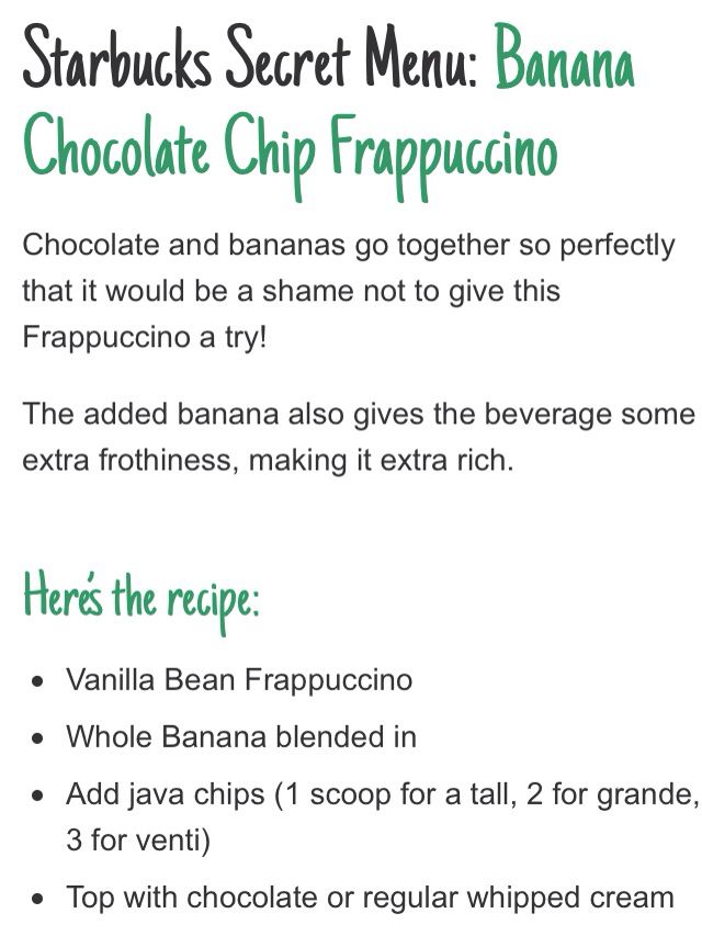 Banana Chocolate Chip Frappacino. Secret Starbucks Menu.