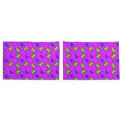 #green and blue butterflies in electric purple pillow case - #Pillowcases #Pillowcase #Home #Bed #Bedding #Living