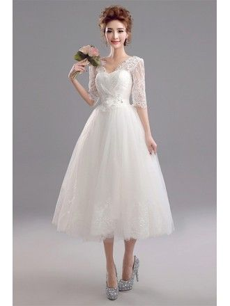 ec897c982680 Vintage Tea Length Wedding Dress Sheer Back With Cap Sleeves  E7957 ...