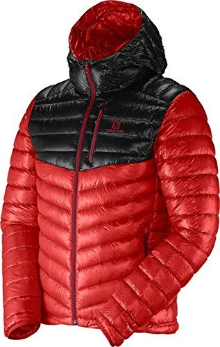 Salomon 2014/15 Men's Super Halo Down Hoodie (Matador-X/Black - M). Variation Attributes: Color - Matador/black, Size - Medium, Color - Matador X. Active Fit. Full Zip. Salomon Apparel is based on the P.A.C.E approach. Comfort in maximizing physical well being and enjoyment. Advanced Skin Warm + 800 Fill 95/5 Water Repellent Down. Progressive, Athletic, Comfort, Engineering. Engineering in art, skill and science applied in creating progressive apparel and gear.