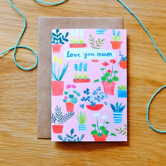 Love You Mum Illustrated Plants Card by Stephanie Cole Design
