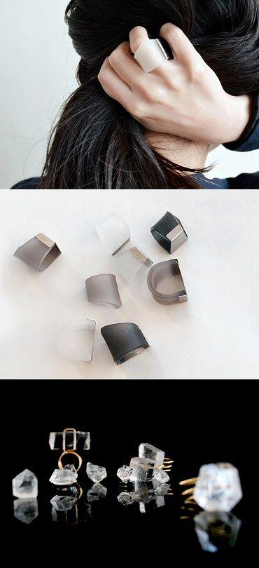 Frosty and icy to match the season: rings by Japan's MMAA (Mariko Maeda), who plays with translucency. http://maedamariko.tumblr.com/