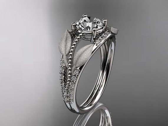 14kt  white gold diamond leaf and vine wedding by anjaysdesigns, $1320.00