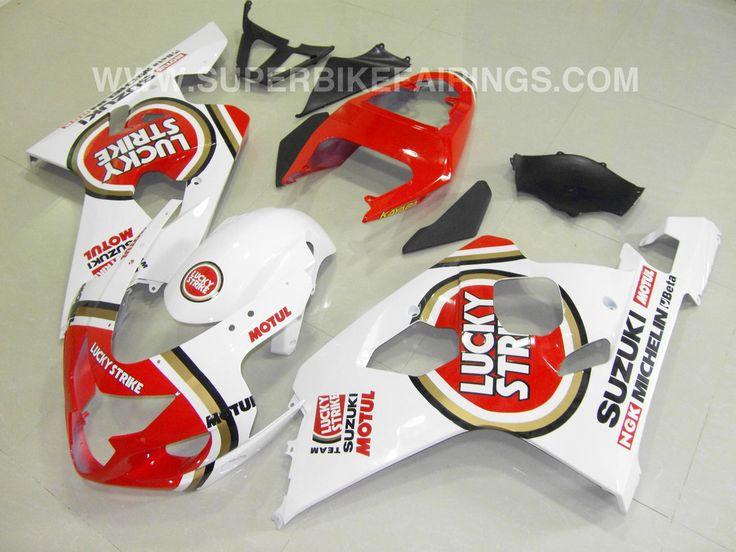 2004-2005 GSXR-600 750 White & Red Lucky Strike Fairings
