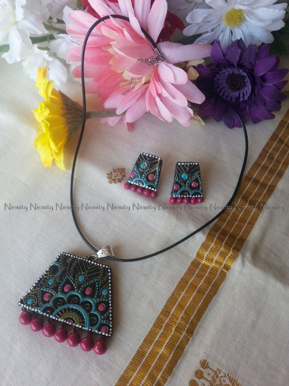 trapezoid terracotta jewelry-terracotta jewellery-necklace set