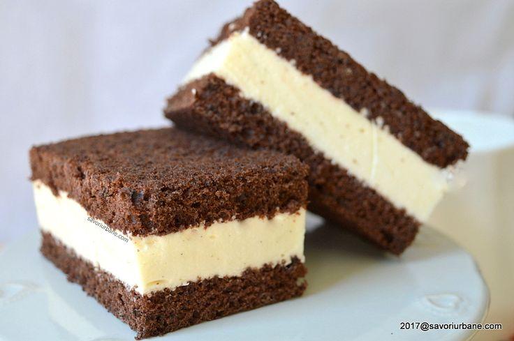 Prajitura Kinder felie de lapte reteta de Milchschnitte. Blat pufos cu cacao si crema alba si delicata, cu lapte, frisca si miere.Un desert simplu