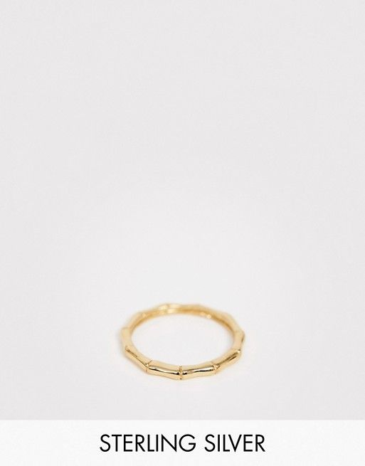8201e6379 ASOS DESIGN sterling silver with gold plate pinky ring in bamboo design |  ASOS