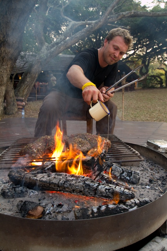 we call it 'Braai'.....others call it barbeque. Our Justin Bonello cooking - South Africa