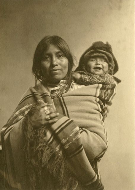 "Jesse L. Nusbaum (1887-1975), Woman and Baby, Jemez Pueblo, New Mexico – 1914Toned Gelatin Silver Print  6"" x 4.25"" - Negative #061712"