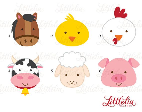 farm animal clipart farm animal head clipart by LittleLiaGraphic