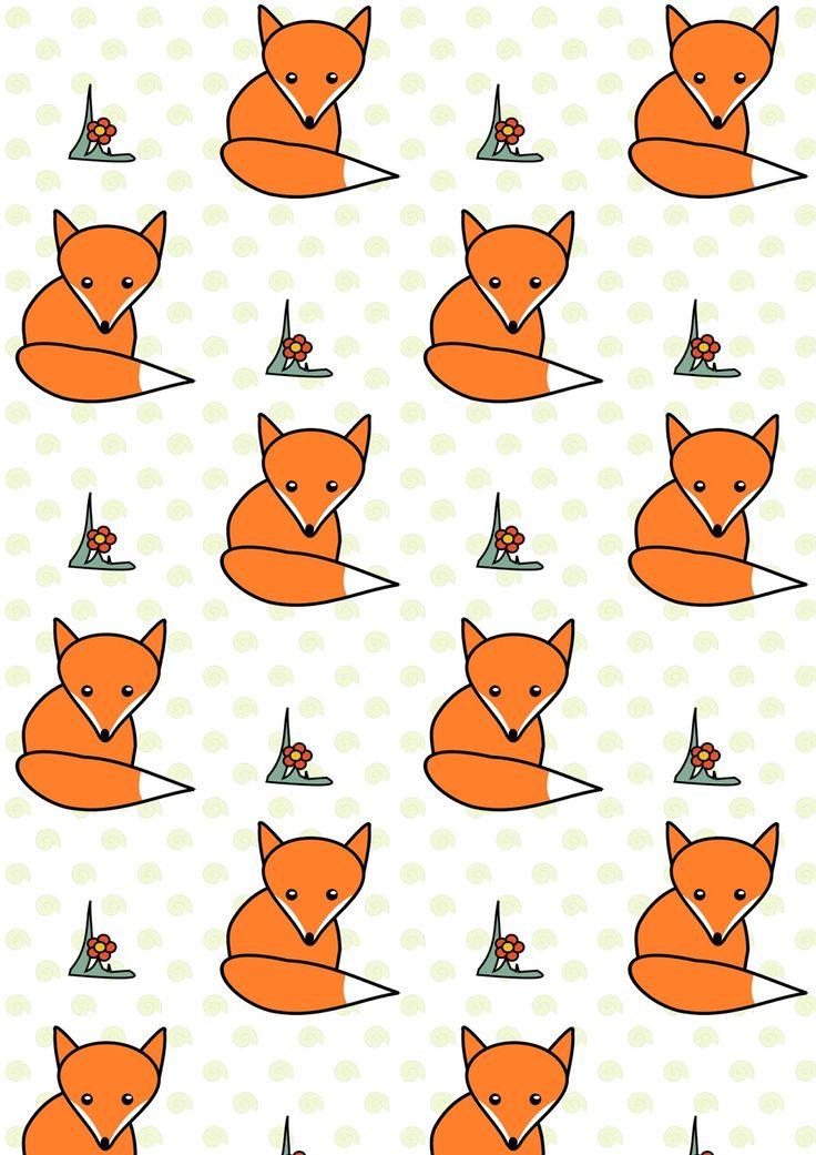 FREE printable woodland fox pattern paper ^^